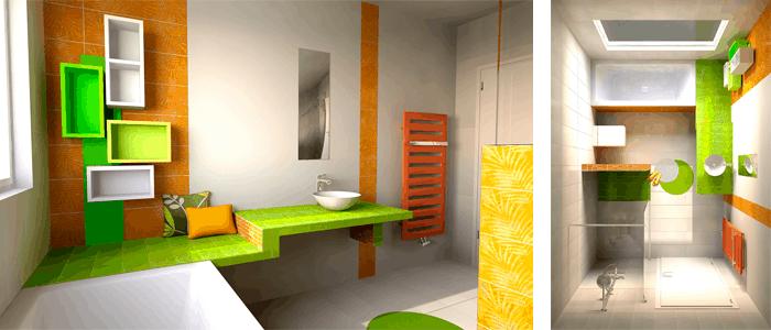 Baño de diseño en color