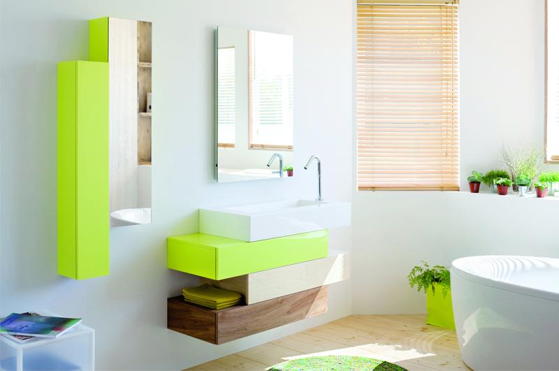 baño moderno color pistacho