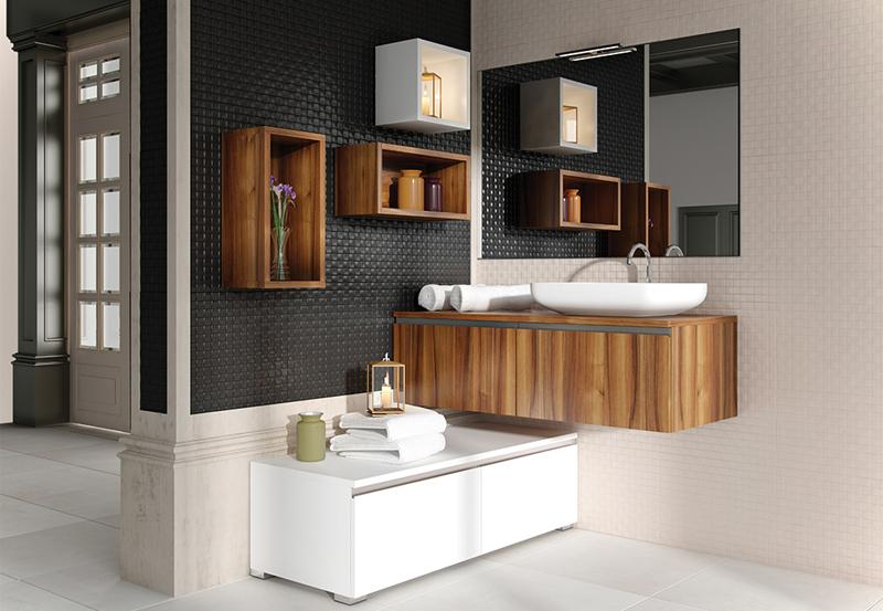 baño moderno madera