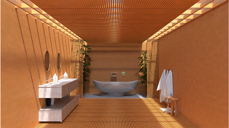 baño moderno oriental