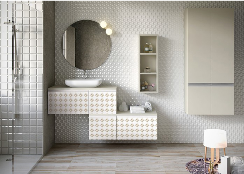 cuarto de baño moderno espejo redondo