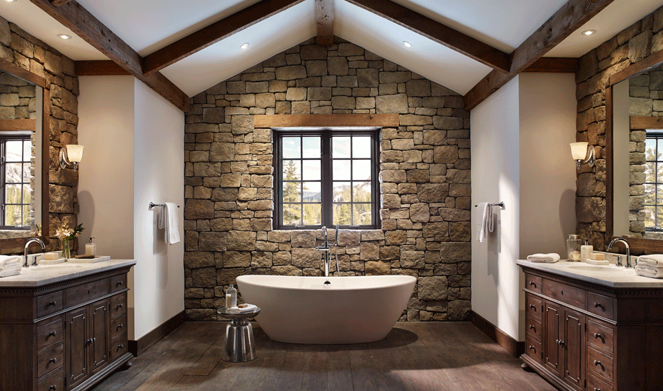 Baños Rusticos Ideas:Rustic Bathroom with Stone Walls