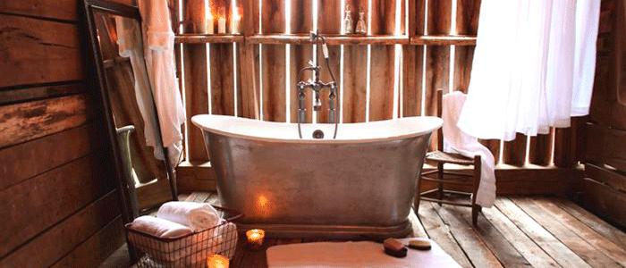 bañera para baños rusticos