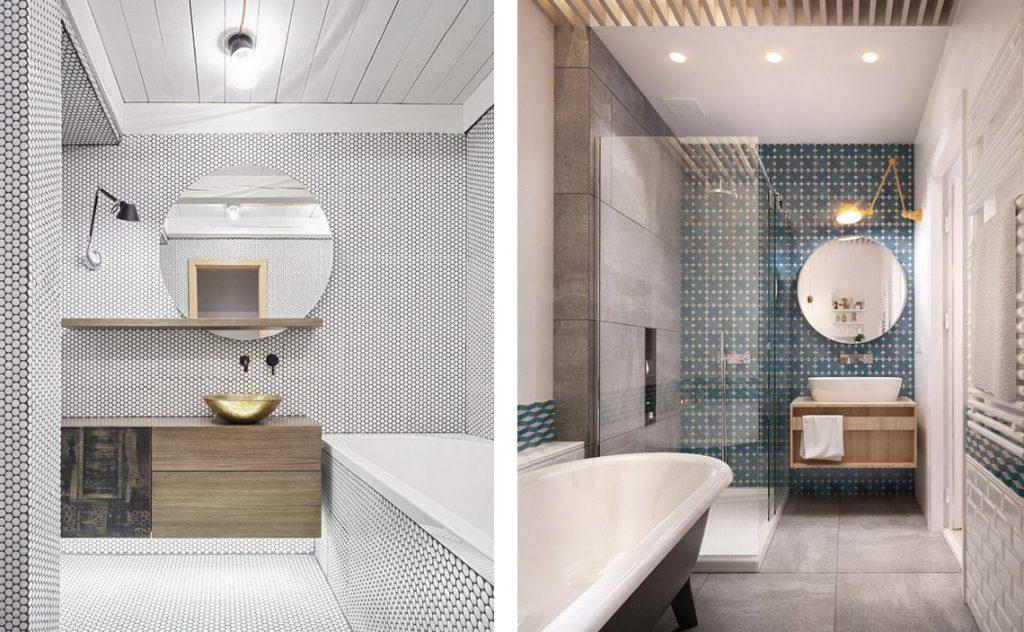 Espejos redondos para el cuarto de ba o - Lamparas para espejos de bano ...