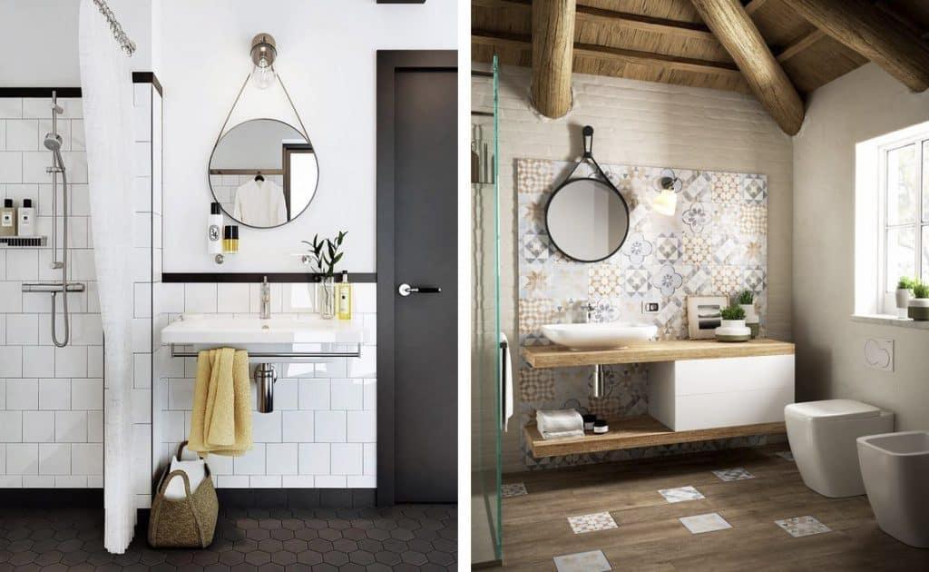 Espejos redondos para el cuarto de ba o banium for Pared con espejos redondos