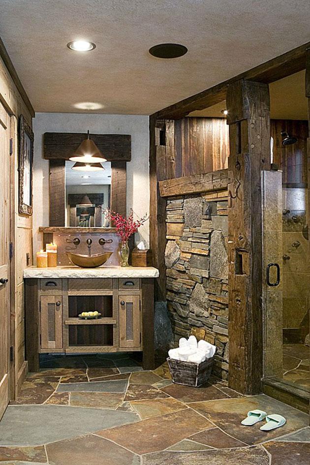 cuarto de bao rustico