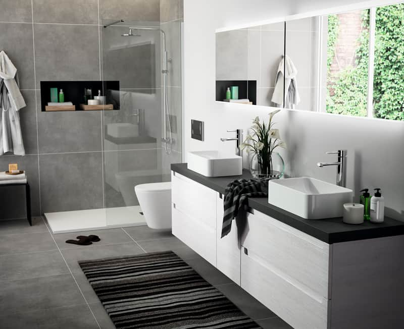 Muebles de bao con dos lavabos mueble de bao compuesto for Colgadores de bano