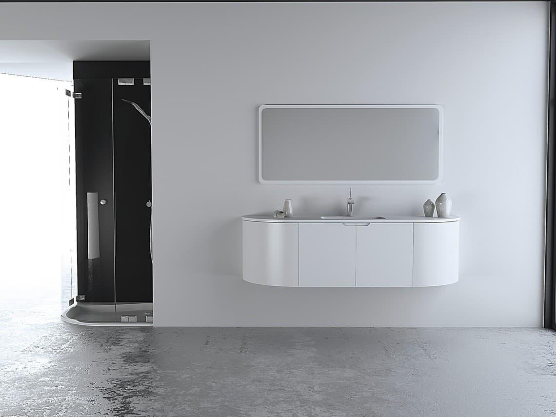 cuarto de ba o minimalista con ducha y mobiliario