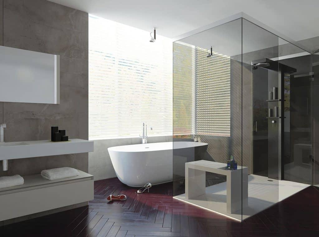 Cuarto de baño con bañera y ducha de obra | Banium.com
