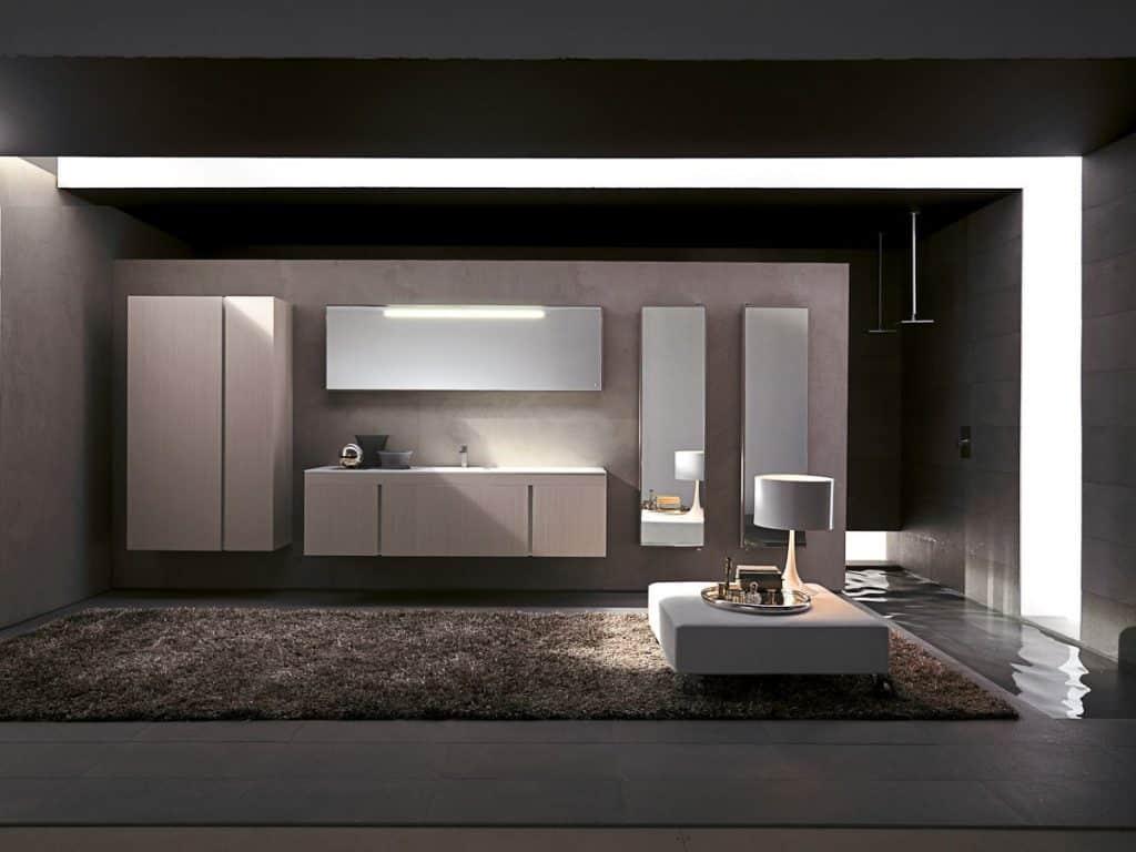 Cuarto de baño con muebles suspendidos de diseño y ducha ...