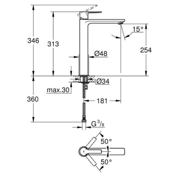 Grifo de lavabo monomando con caño alto - Lineare New - Grohe