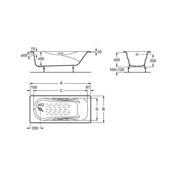 Bañera de hierro fundido rectangular - Malibu - Roca