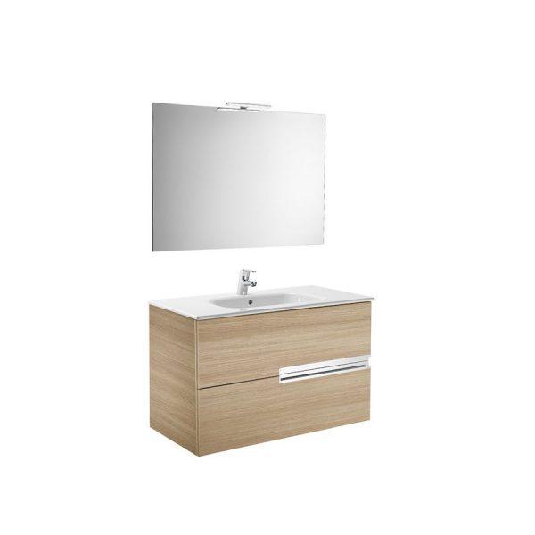Pack Mueble 2 cajones + lavabo + espejo y aplique LED - Victoria-N - Roca - Victoria