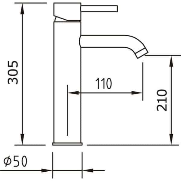 Grifo de lavabo caño 210mm - Caiman elegance - Clever