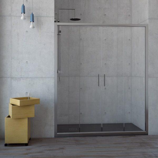 Mampara de ducha frontal con 2 puertas correderas y 2 fijos - RIN - Mamparas Anna Bagno