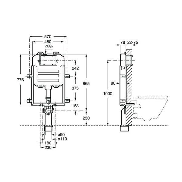 Basic WC Compact , bastidor con cisterna compacta empotrable - Roca