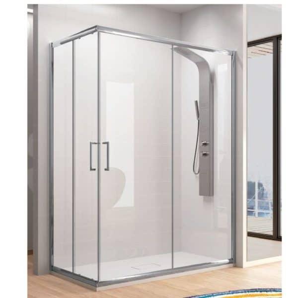 Mampara de ducha 2 fijos + 2 puertas correderas - Bella - Kassandra