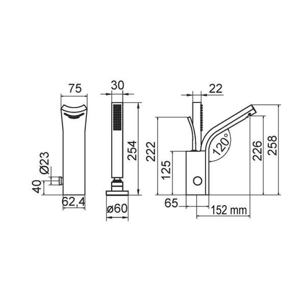 Grifo jump bateria baño-ducha - Galindo