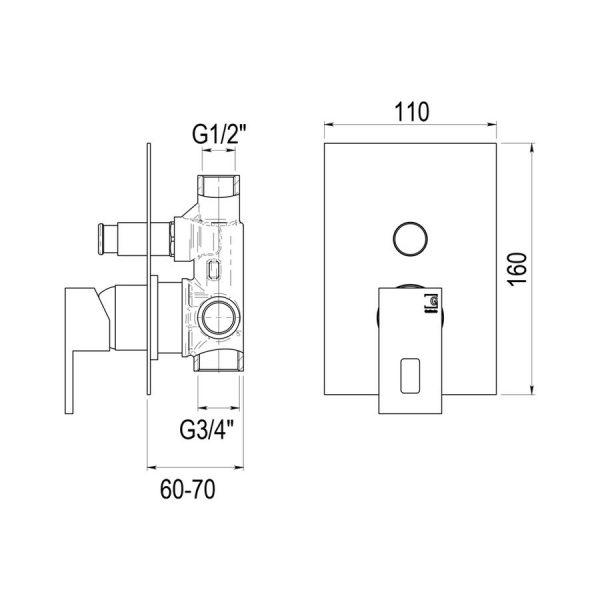 Mecanismo baño-ducha en cromo - Nitro - Galindo