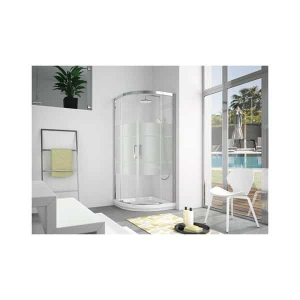Mampara semicircular de ducha 2 fijos + 2 puertas correderas -  400 - Kassandra