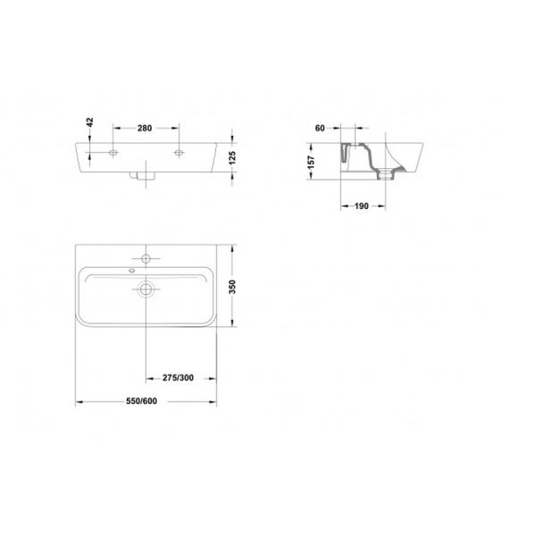 Lavabo Emma Square 55x35 cm - Gala Ref 27005