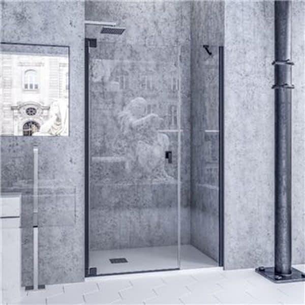 Mampara de ducha frontal de una hoja abatible y una fija-Perfileria negra - Bagdad - Doccia