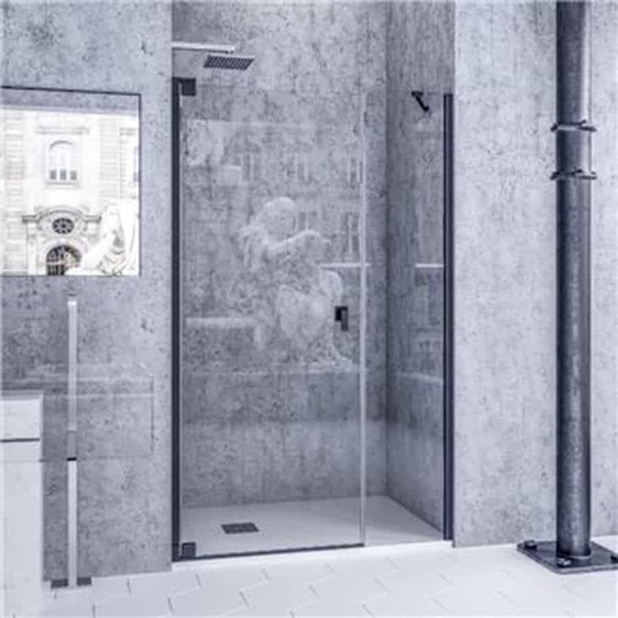 Mampara de ducha frontal de una hoja abatible y una fija - Mampara fija ducha ...