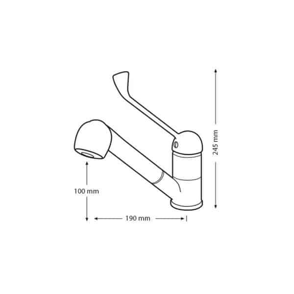 Grifo de lavabo con maneta gerontológica - PrestoEquip - PrestoDisc 640