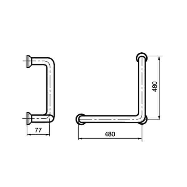 Barra de apoyo ángulo  prestobar  Inox160 - Presto Equip