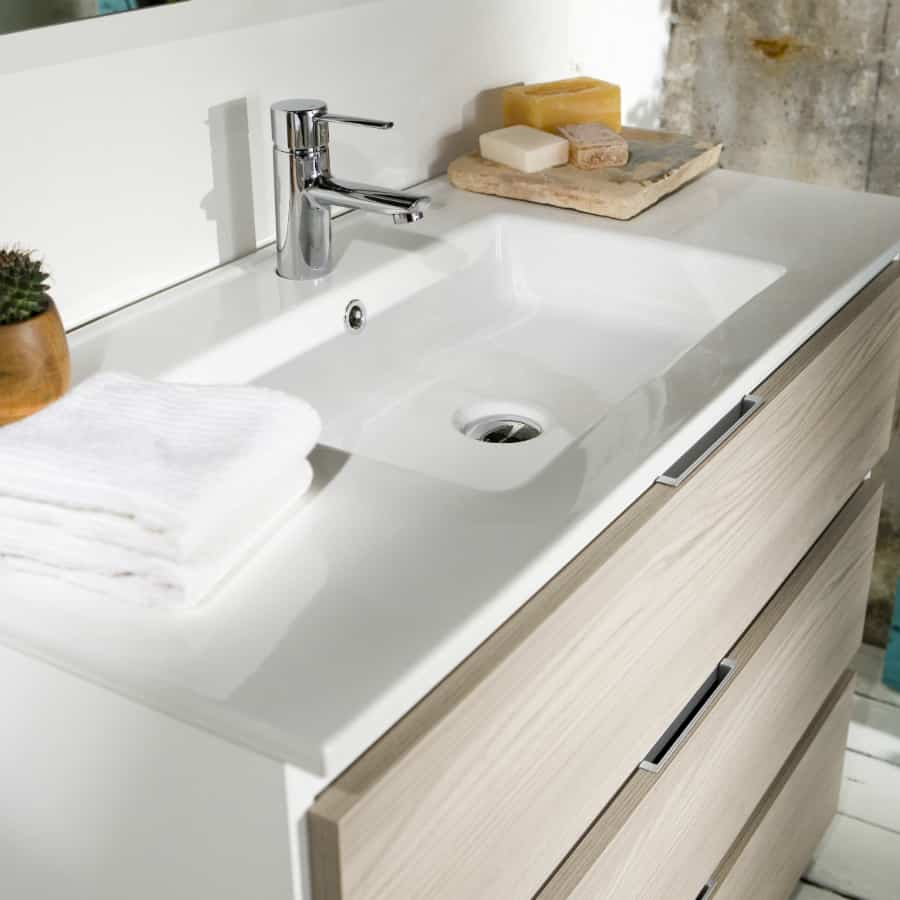 Lavabo de porcelana con 2 banium - Banos con dos lavabos ...