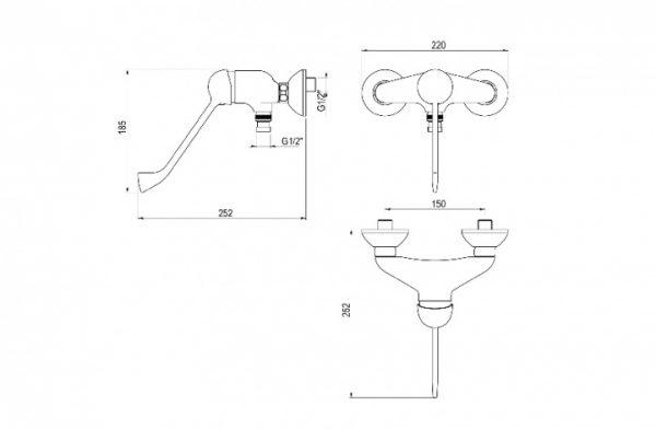 Grifo de ducha con maneta gerontológica - PrestoEquip