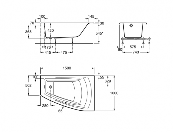 Bañera acrilica angular asimetrica - Roca - Hall