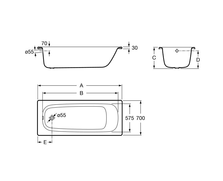Bañera de acero rectangular - Roca - Contesa Plus