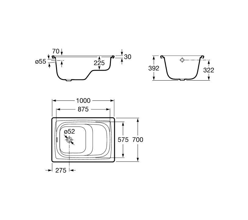 Bañaseo de acero rectangular - Roca - Contesa-Bañaseo