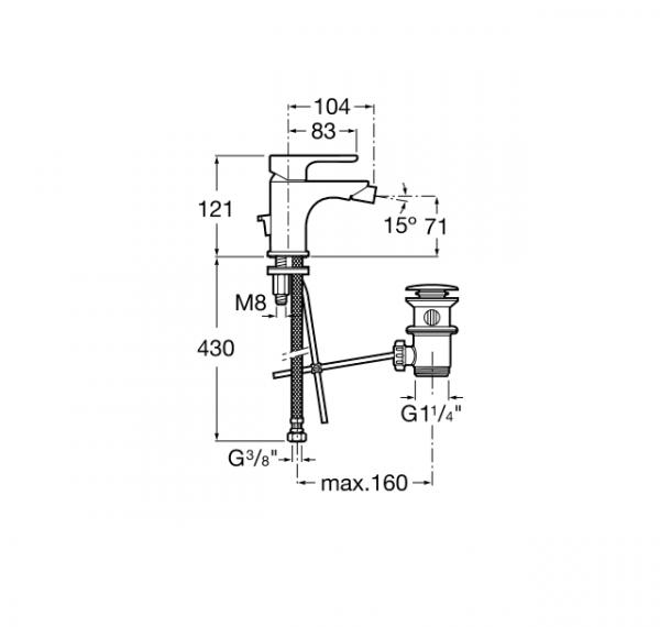 Mezclador monomando para bide - Roca - L20