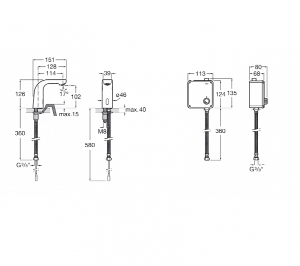 Griferia electronica para lavabo (un agua) - Roca - L20-E