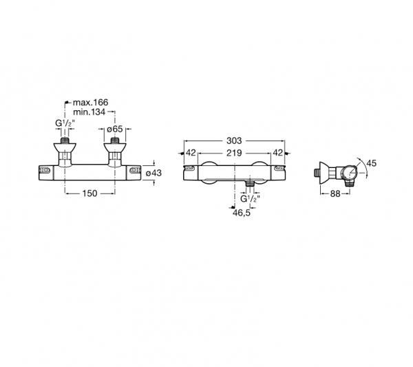 Mezclador termostático exterior para ducha - Roca - T-500