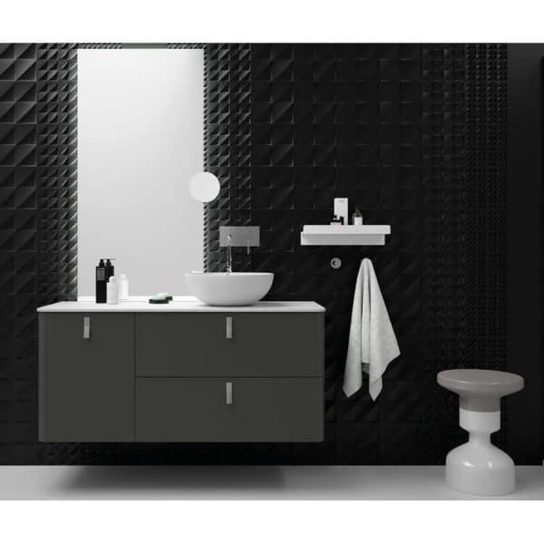 Conjunto mueble suspendido con lavabo de porcelana-UniiQ-Antracita Mate-Salgar