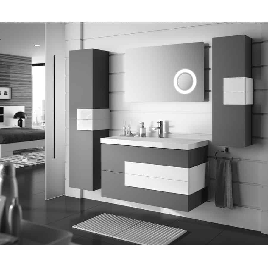conjunto mueble suspendido gris antracita y lavabo sofia. Black Bedroom Furniture Sets. Home Design Ideas