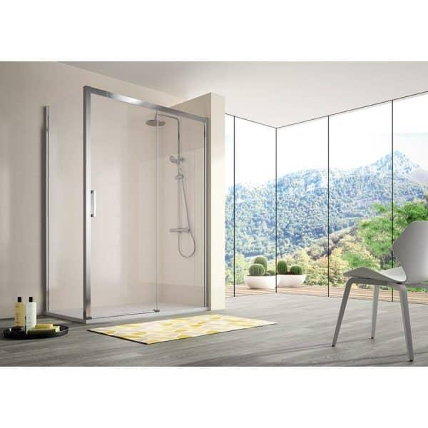 Mampara frente de ducha fijo + puerta corredera - Kassandra - 400