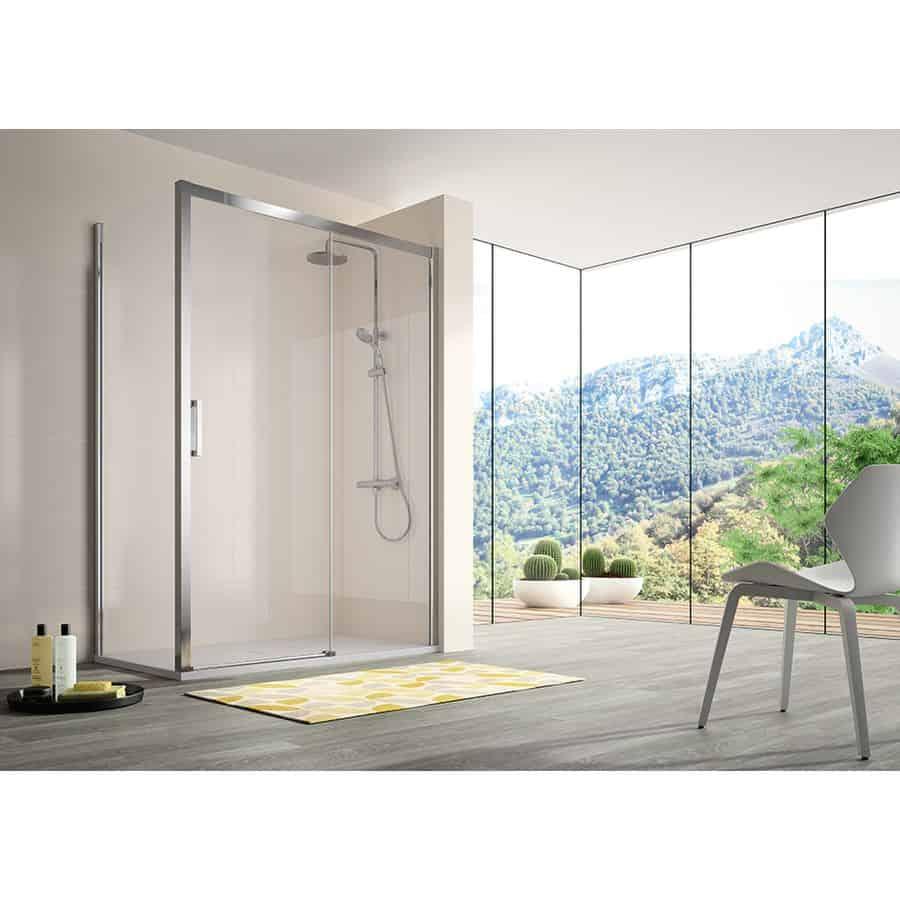Frente de ducha fijo + puerta corredera - mampara 400 - kassandra