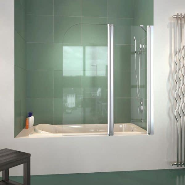 Mampara de baño frontal con una hoja autorretornable punta roma y otra fija - Mamparas Doccia - Nagoya