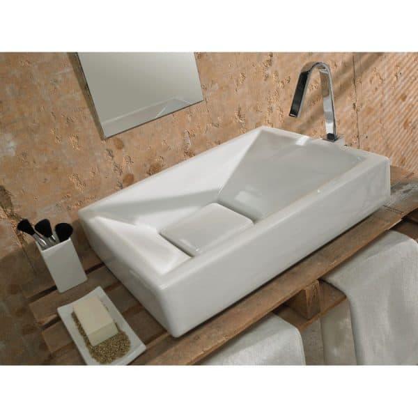 Lavabo de porcelana grove blanco - Cazaña