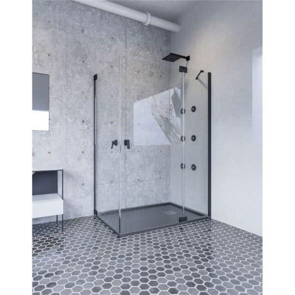 Mampara de ducha angular una hoja abatible y una fija , mas lateral abatible - Shanghai - Doccia