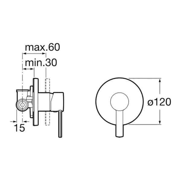 Mezclador empotrado para ducha - Roca - L20