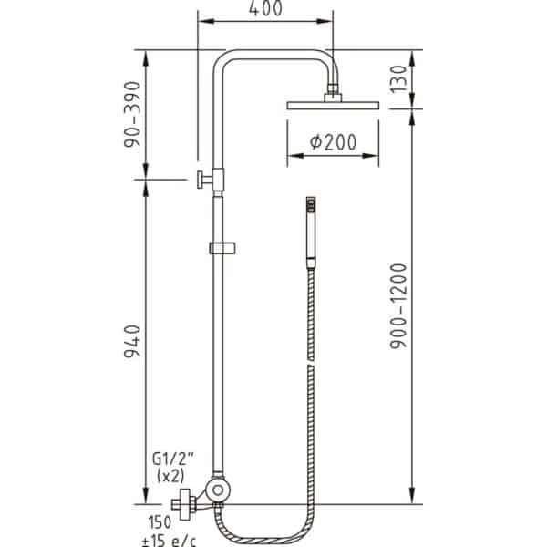 Conjunto termostático ducha extensible - Clever - Nine urban