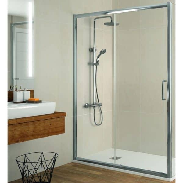 Mampara frente de ducha fijo + puerta corredera - Bella - Kassandra