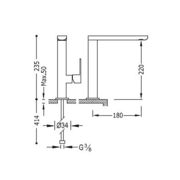 Grifo monomando lavabo caño alto - Tres – Loft