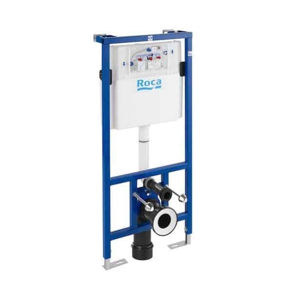 DUPLO WC - Bastidor con cisterna empotrable de doble descarga para inodoro suspendido. Codo de 90 ø / 110 ø