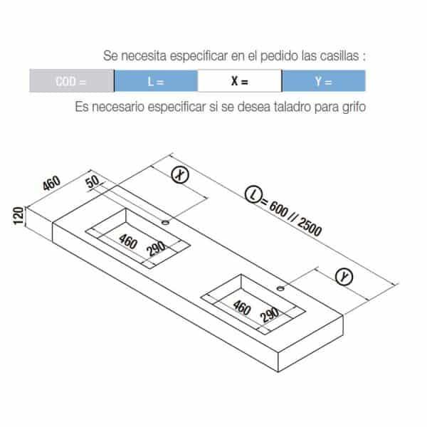 Encimera de dos senos integrados - Compakt - Salgar